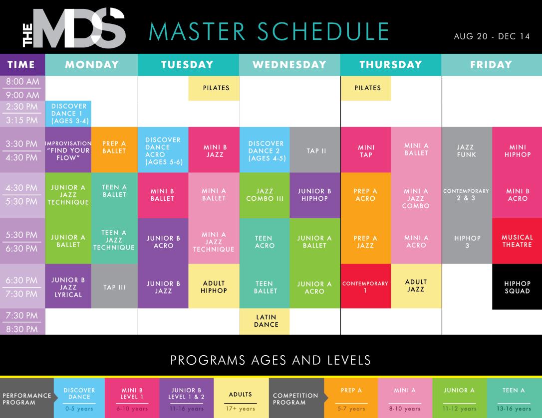 JALEASTUDIO MOVEMENT DANCE STUDIO Master Schedule AF-01
